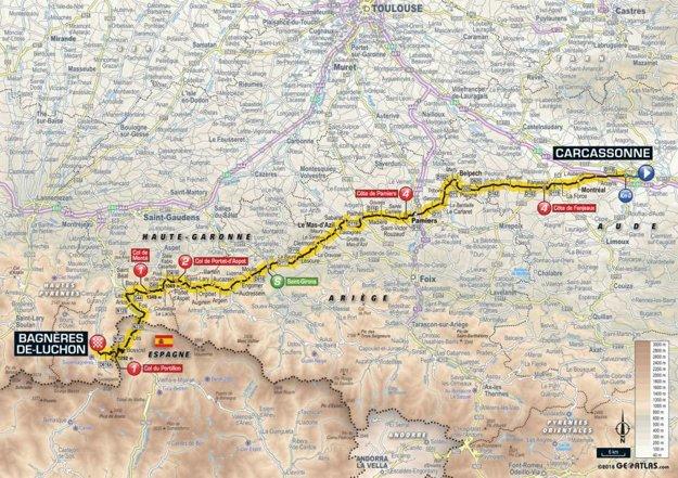 Mapa 16. etapy Tour de France 2018.