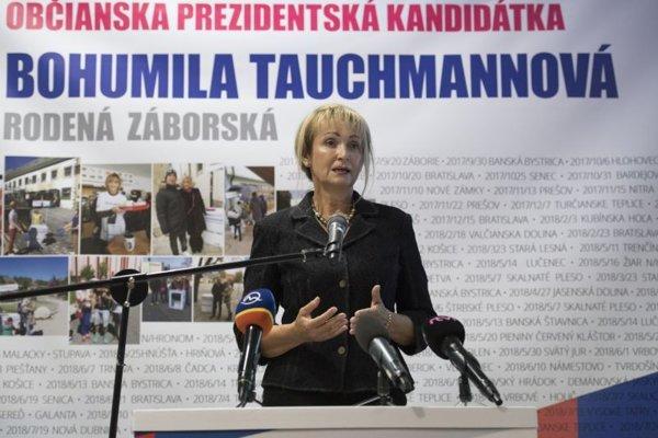 Bohumila Tauchmannová počas oficiálneho ohlásenia kandidatúry na post prezidentky SR.