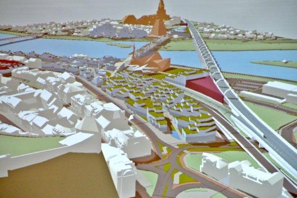 3D vizualizácia možnej budúcej podoby mesta.