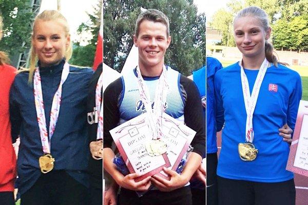 Zľava Viktória Forster, Jaroslav Greguš a Andrea Švecová. Trio Nitranov získalo na M-SR spolu osem zlatých medailí.