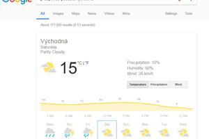Ak chcete vedieť, aké bude počasie v mieste vášho bydliska alebo niekde, kam idete na výlet, do vyhľadávača Google zadajte