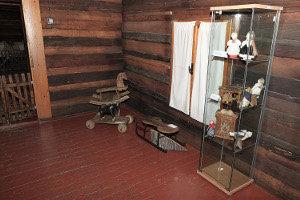 Výstava prezentuje okolo tridsať historických exponátov prevažne textilných a drevených hračiek.