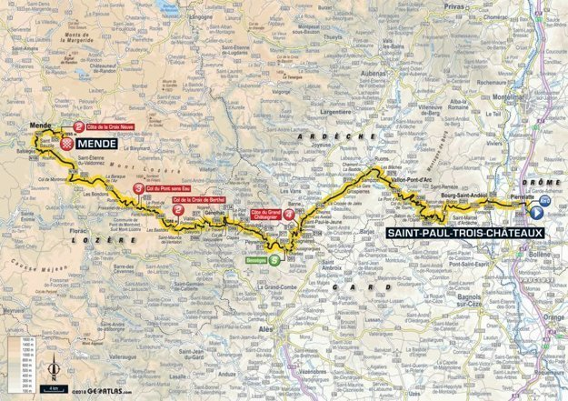 Mapa 14. etapy Tour de France 2018
