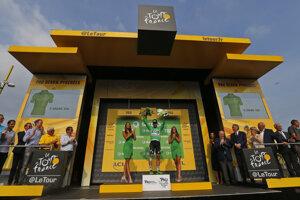 Peter Sagan v zelenom drese po 18. etape Tour de France 2018.