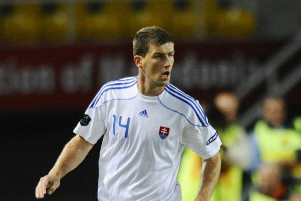 Ľubomír Michalík v drese slovenskej futbalovej reprezentácie.