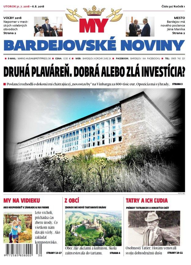 Titulná strana týždenníka MY Bardejovské noviny č.30
