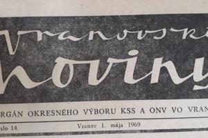 Vranovské noviny - hlavička z prvého ročníka týždenníka.