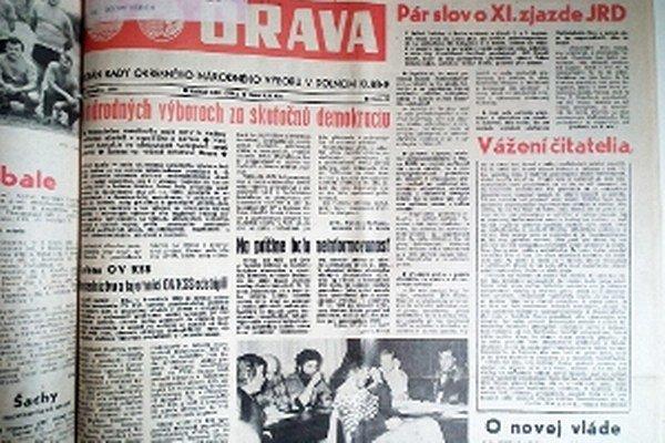Udalosti Nežnej revolúcie sa do novín dostávali postupne.