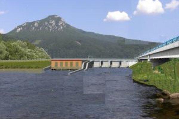 Pohľad na Váh po výstavbe elektrárne, vpravo diaľnica.