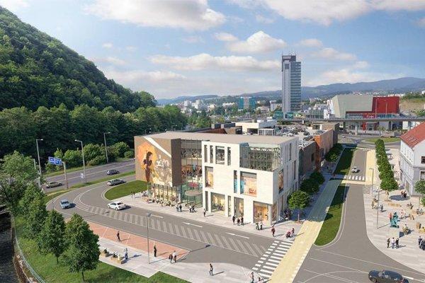 Vizualizácia vsúčasnosti realizovaného architektonického adopravného riešenia – pohľad zDolnej ulice.