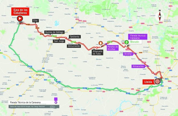 Mapa 18. etapy pretekov Vuelta 2018. (zdroj: lavuelta.es)