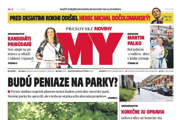 Titulná strana týždenníka MY Prešovské noviny č. 34/2018.