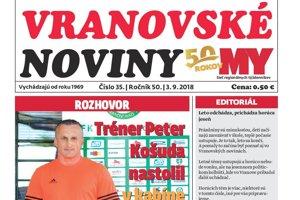 Titulná strana týždenníka Vranovské noviny č. 35/2018.