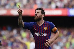 Lionel Messi sa teší z jedného zo svojich gólov.