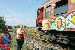 Vlak ostal stáť v poli neďaleko Hornej Seče.