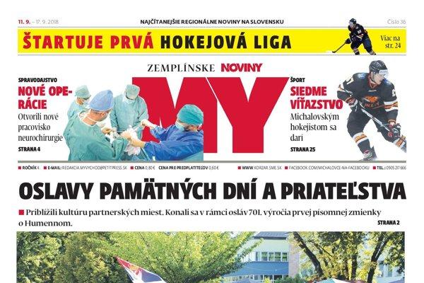Titulná strana týždenníka MY Zemplínske noviny č. 36/2018.