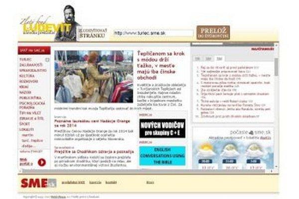 """Takto vyzerá """"zludevítovaná"""" stránka www.turiec.sme.sk."""
