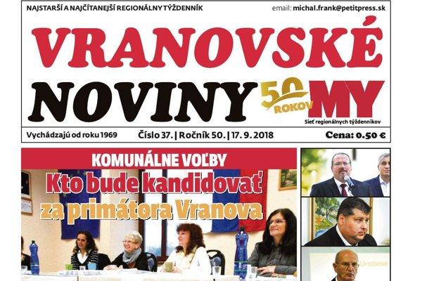 Titulná strana týždenníka Vranovské noviny č. 37/2018.