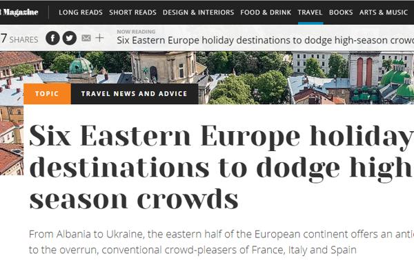 Titulka čínskeho portálu s článkom o destináciách východnej Európy.