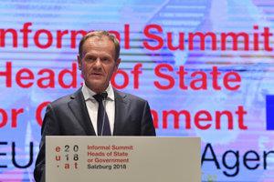 Predseda Európskej rady na tlačovej konferencii po skončení dvojdňového neformálneho summitu EÚ v rakúskom Salzburgu.