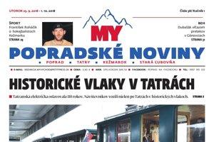 Titulná strana týždenníka MY Popradské noviny č. 38/2018.