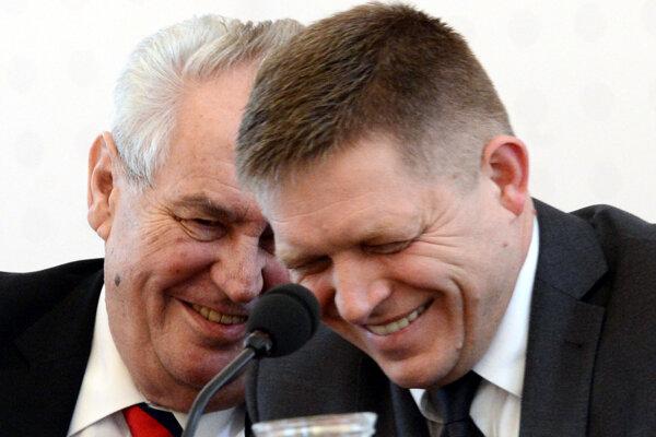 Miloš Zeman a Robert Fico počas konferencie ASA.