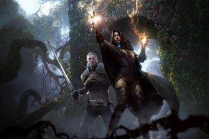 Geralt z Rivie a čarodejnica Yennefer v hre Witcher 3: Wild Hunt.