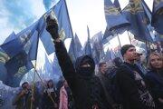 Protest nacionalistov v Kyjeve.