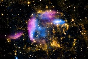 Pozostatky po výbuchu supernovy CTB 37A.