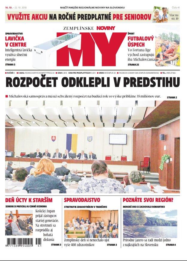 Titulná strana týždenníka MY Zemplínske noviny č.41