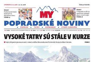 Titulná strana týždenníka MY Popradské noviny č. 41/2018.