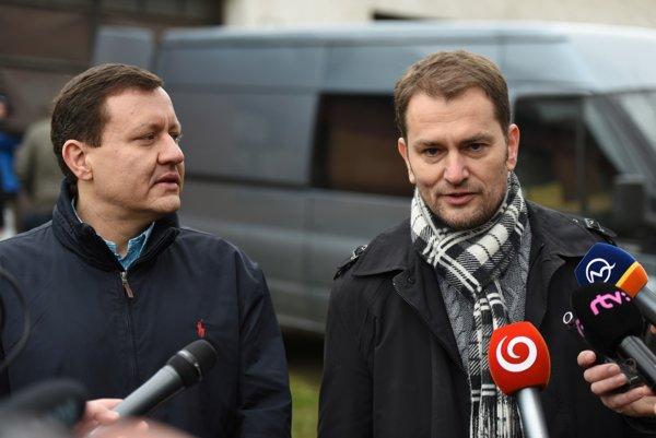 Daniel Lipšic s Igorom Matovičom po odovzdaní účtovníctva.
