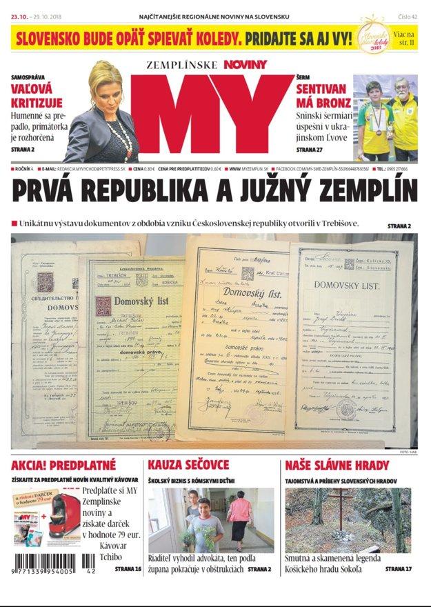 Titulka nového vydania týždenníka MY Zemplínske noviny č. 42