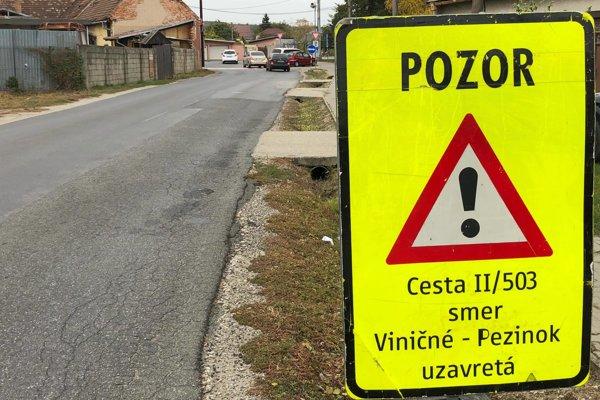 Upozornenie o uzavretí úseku