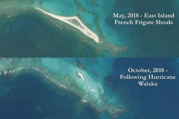 Horná fotografia ukazuje ostrov East Island v máji tohto roku pred hurikánom Walaka. Spodná zas v októbri po hurikáne.