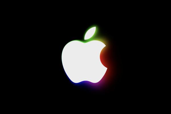 Apple logo premietané počas eventu v Brooklyne.