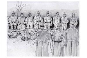 Poprava vojakov, ktorých odsúdili za účasť na vzbure sa konala 8. júna o druhej popoludní na Stanovljanskom poli.
