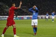 Momentka zo zápasu Taliansko - Portugalsko.