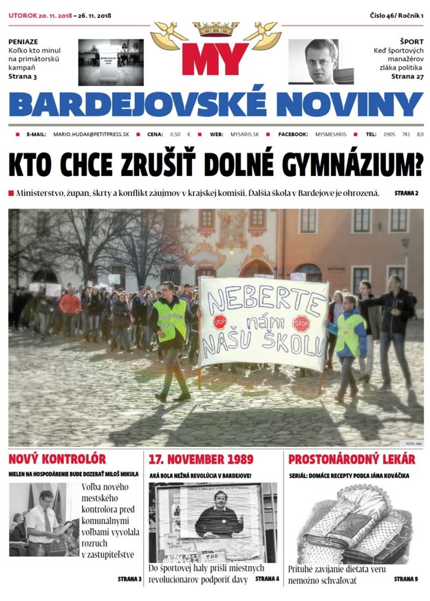 Titulka najnovšieho vydania týždenníka MY Bardejovské noviny č.47.