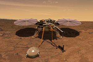 Umelecké zobrazenie sondy InSight na Marse.