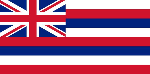 Vlajka štátu Hawaiʻi. Vlajka, prijatá za Kamehamehu I., spája motívy americkej aj britskej zástavy na znak priateľstva s oboma mocnosťami. Osem pruhov predstavuje osem hlavných havajských ostrovov.