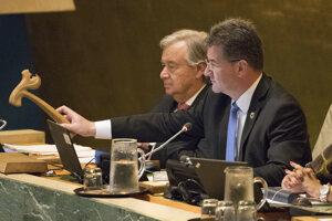 19. september 2017. Predseda Valného zhromaždenia Organizácie Spojených národov Miroslav Lajčák a generálny tajomník OSN António Guterres počas otvorenia Valného zhromaždenia OSN.