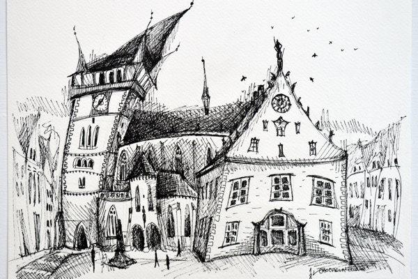Kresba Bardejovského námestia michalovskej výtvarníčky Lucie Chocholáčkovej. (ZDROJ: LUCCHO.COM)