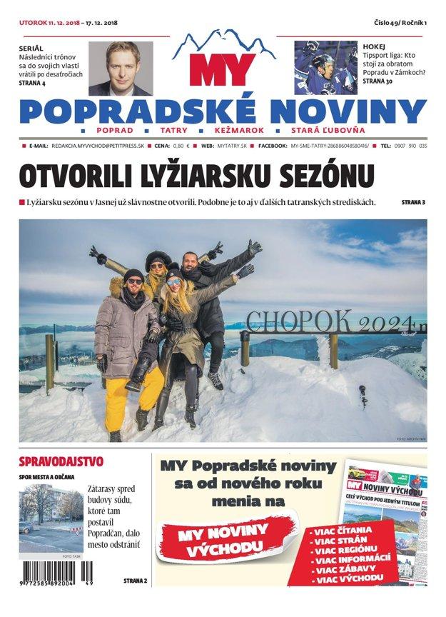 Titulná strana týždenníka MY Popradské noviny č. 49/2018.