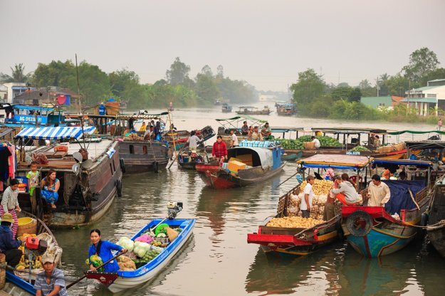 Plávajúce trhy, Vietnam.
