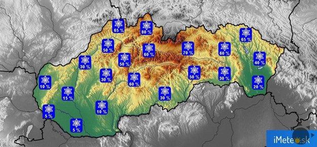 Pravdepodobnosť výskytu snehovej pokrývky na Štedrý deň.