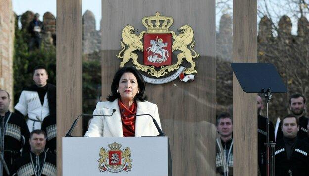 Salome Zurabišviliová počas inaugurácie v Telavi.