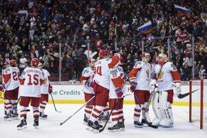 8e9379246bb49 Ruskí hokejisti sa radujú z víťazstva na MS v hokeji do 20 rokov 2019.
