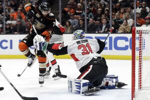 Brankár tímu Ottawa Senators Anders Nilsson zastavuje akciu hráča Anaheimu Ducks Andrewa Cogliana.
