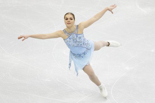 Nicole Rajičová počas voľnej jazdy na majstrovstvách Európy v krasokorčuľovaní v bieloruskom Minsku 25. januára 2019.